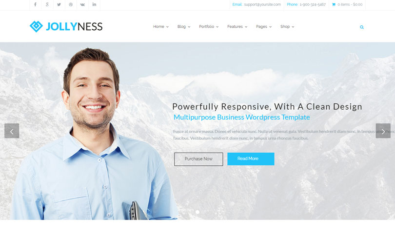 18 best business wordpress themes of 2018 modern wp themes 6 jollyness multi purpose wordpress theme cheaphphosting Images